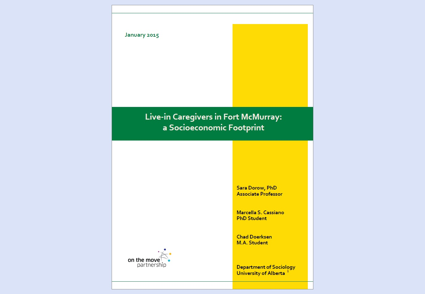 """Live-in Caregivers in Fort McMurray"" report cover / Couverture du rapport « Live-in Caregivers in Fort McMurray »"